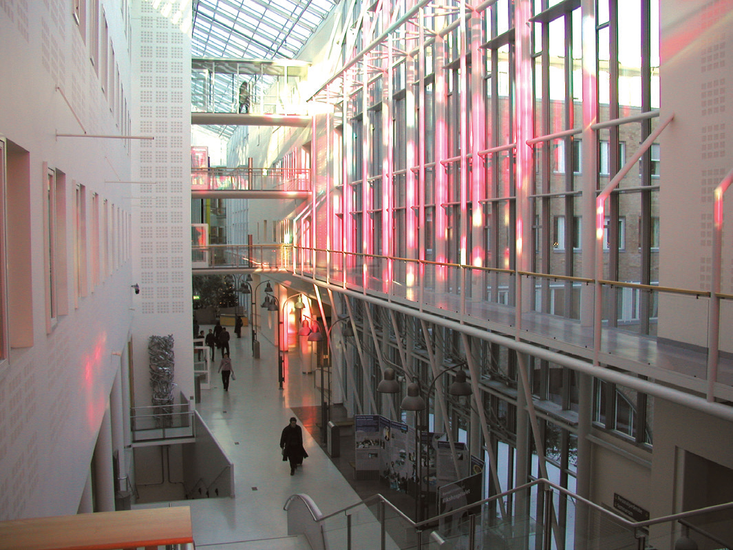View of the atrium in the Rikshospital, Oslo